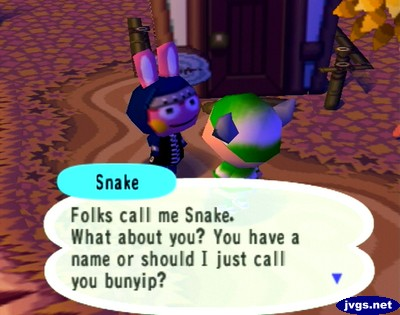 Snake: Folks call me Snake. What about you? You have a name or should I just call you bunyip?