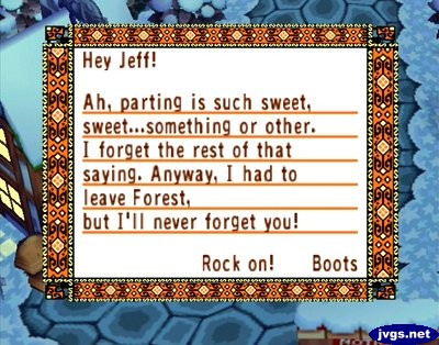 Boots' goodbye letter in Animal Crossing for GameCube.