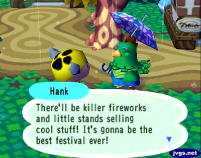 Hank: There'll be killer fireworks and little stands selling cool stuff! It's gonna be the best festival ever!
