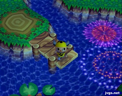 Watching the 4th of July fireworks at the pier in Animal Crossing for Nintendo GameCube.