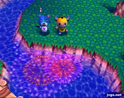 Kody fans himself and smiles as he and Jeff watch the fireworks festival in Animal Crossing for Nintendo GameCube.