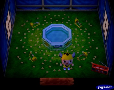 The inside of Joey's house in Animal Crossing for Nintendo GameCube.