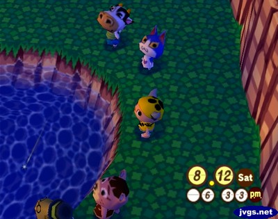Belle, Tom, Jeff, Ursala, and Tortimer watch the meteor shower at the lake in Animal Crossing for Nintendo GameCube.