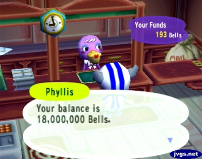 Phyllis: Your balance is 18,000,000 bells.