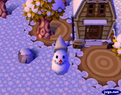 Using my net to give a snowman a pointy hat.