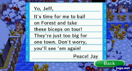 Jay's goodbye letter.