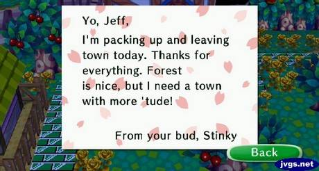 Stinky's goodbye letter.