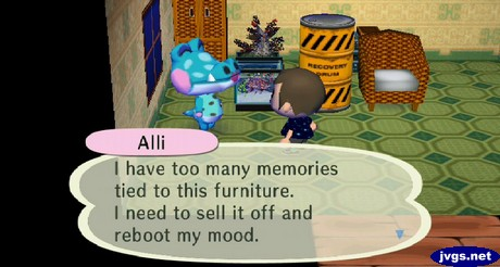 Alli: I have too many memories tied to this furniture. I need to sell it off and reboot my mood.
