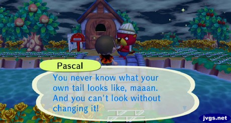 Pascal: You never know what your own tail looks like, maaan. And you can't look without changing it.
