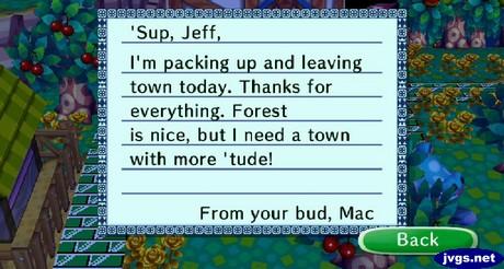 Mac's goodbye letter.