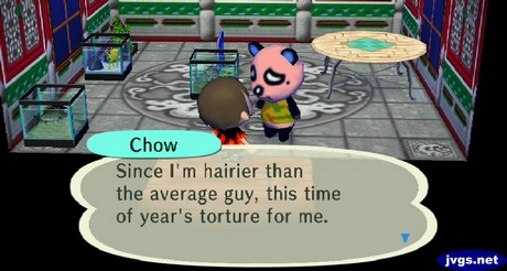 Chow: Since I'm hairier than the average guy, this time of year's torture for me.