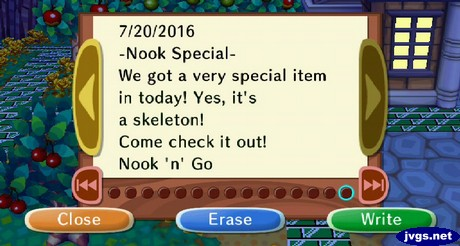 - Nook Special - We got a very special item in today! Yes, it's a skeleton!