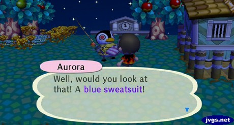 A red-eyed Aurora is surprised by the blue sweatsuit that Savannah sent her.