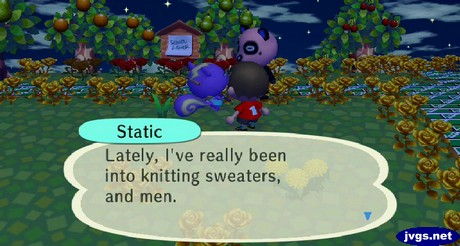 Static: Lately, I've really been into knitting sweaters, and men.
