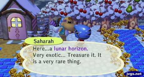 Saharah: Here...a lunar horizon. Very exotic... Treasure it. It is a very rare thing.