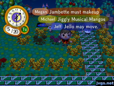 Megan: Jambette must makeup. Micheal: Jiggly musical mangos. Jeff: Jello may move.
