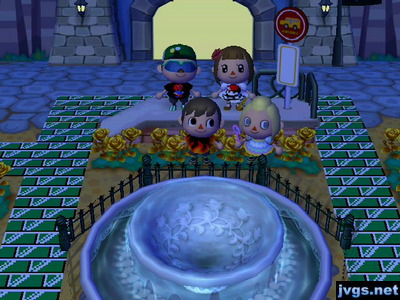 Jeff, Mike, Yann, and Megan pose near the fountain for one last picture before Wi-Fi online play ended for ACCF.