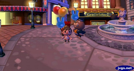 Standing with my blue bunny balloon next to Phineas in the city.