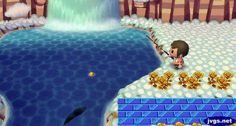Fishing out a large fish in the river near the waterfall. It turned out to be a stringfish.