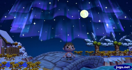 Me standing on the bridge, looking up at the northern lights in the sky, along with the nearly full moon.