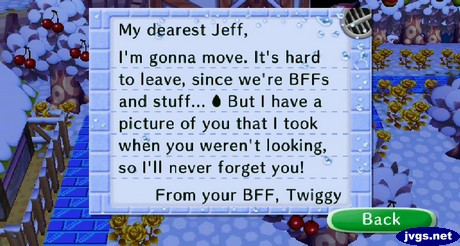 Twiggy's goodbye letter in Animal Crossing: City Folk for Wii.