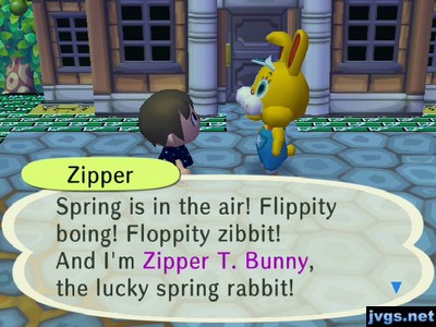 Zipper: Spring is in the air! Flippity boing! Floppity zibbit! And I'm Zipper T. Bunny, the lucky spring rabbit!