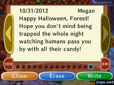 Happy Halloween, Forest! Hope you don't mind being trapped the whole night watching humans pass you by with all their candy!