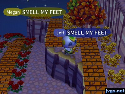 Jeff and Megan, in unison: SMELL MY FEET!
