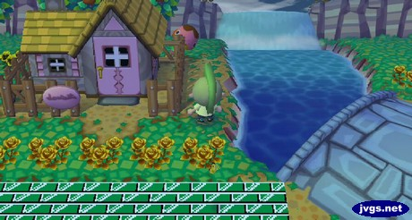 Freckles hides behind a house during a game of hide-and-seek in Animal Crossing: City Folk.