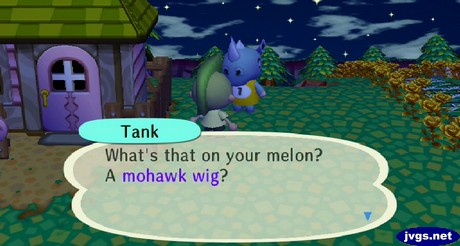 Tank: What's that on your melon? A mohawk wig?