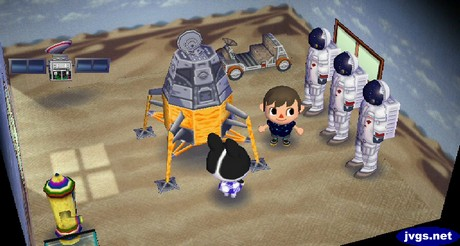 Three astronauts (Spaceman Sams) in Dotty's house in Animal Crossing: City Folk.