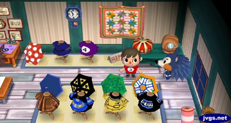 Jeff wearing a three-ball shirt in Able Sisters in Animal Crossing: City Folk (ACCF) for Nintendo Wii.