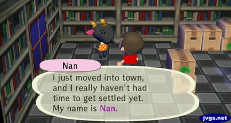 Nan: I just moved into town, and I really haven't had time to get settled yet. My name is Nan.