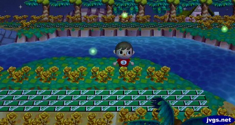 Three fireflies fly near the river in Animal Crossing: City Folk (ACCF) for Nintendo Wii.