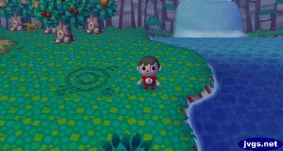 My crop circle in Animal Crossing: City Folk, made from Wendell's mystery circle patterns.