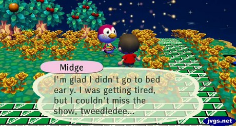 Midge, wearing a rainbow bikini: I'm glad I didn't go to bed early. I was getting tired, but I couldn't miss the show, tweedledee...