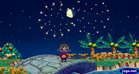 Watching the fireworks during the fireworks festival in ACCF on Nintendo Wii.
