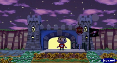 The purple, starry sky appears above my castle gate wall in Animal Crossing: City Folk for Nintendo Wii.