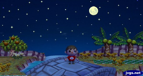 A full autumn moon (harvest moon) in Animal Crossing: City Folk for Nintendo Wii.