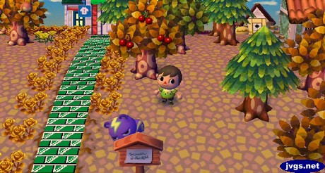 Static hides behind a sign post during a game of hide and seek in Animal Crossing: City Folk.