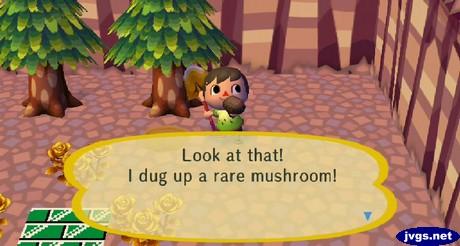 Look at that! I dug up a rare mushroom!