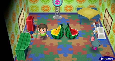 Two melon chairs back to back in Samson's house.
