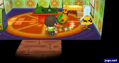 Tangy takes some medicine in Animal Crossing: City Folk.