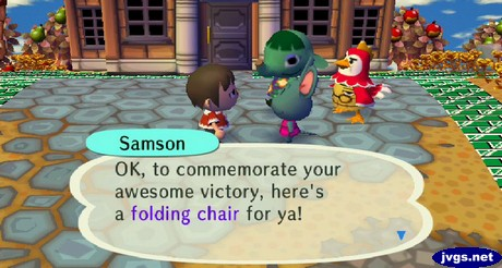 Samson: OK, to commemorate your awesome victory, here's a folding chair for ya!