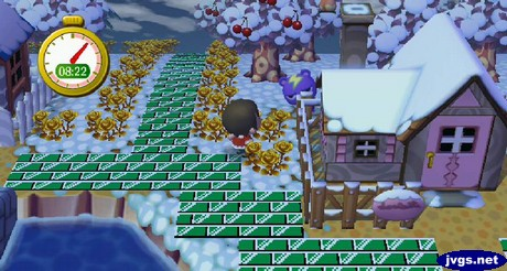 Static hides behind his own house during a game of hide-and-seek in Animal Crossing: New Leaf.