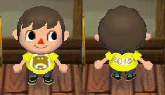 The New Year's shirt for 2018, with a dog on the front in Animal Crossing: City Folk (ACCF) for Nintendo Wii.