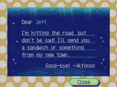 Alfonso's goodbye letter.