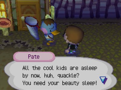 Pate: All the cool kids are asleep by now, huh, quackle? You need your beauty sleep!