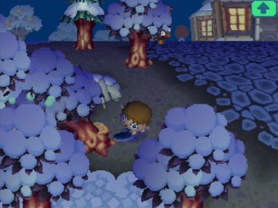 Using an axe to cut down a tree in Animal Crossing: Wild World.