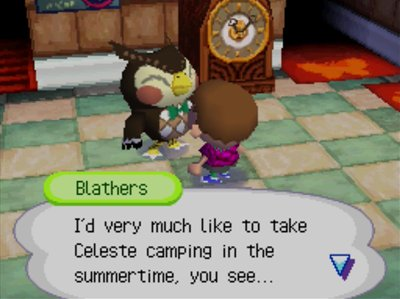 Blathers: I'd very much like to take Celeste camping in the summertime, you see...
